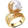 White Zircon with Imitation Pearl Women Rings