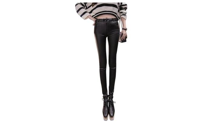 Women's Long Mid Rise Skinny Solid Fashion Leggings