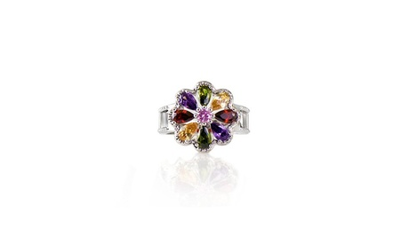 Multi Color Crystal Rainbow Flower Ring Made With Crystals From Swarovski