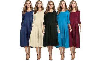 Fashion Ladies Sexy Loose Round Neck Sleeve Solid Color Dress