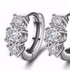 White Gold Plated CZ Crystal Hoop Earrings