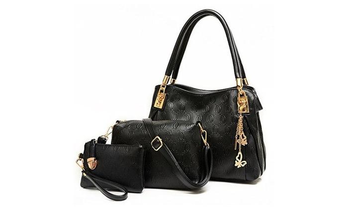 Women Butterfly Pendant 3 Pieces Tote Bag Shoulder Handbags