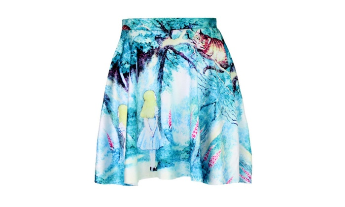 Digital print girl with cat skirt