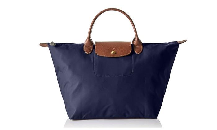 8a1acaffb19c Longchamp Le Pliage Nylon Duffle Tote Bag Navy | Groupon