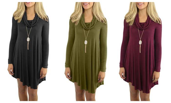 5f750b3950780 Women's Casual Flowy Long Sleeve Swing Loose Dress Cowl Neck | Groupon