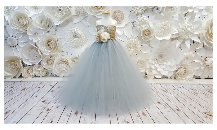 e5ae3fc6da0 Silver Flower Girl Tutu Dress.Wedding Dress.Birthday.Party