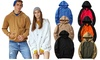 Unisex Pure Color Pullover Hooded Top Cozy Sport Outwear