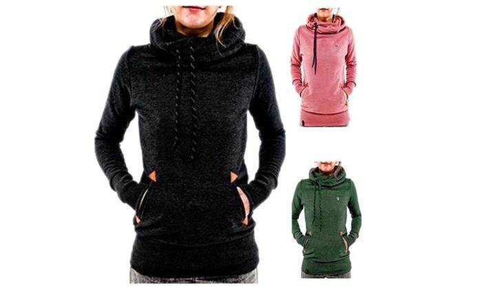 Women Funnel Neck Hoodie Lightweight Hooded Sweatshirt (XS-XXL ...
