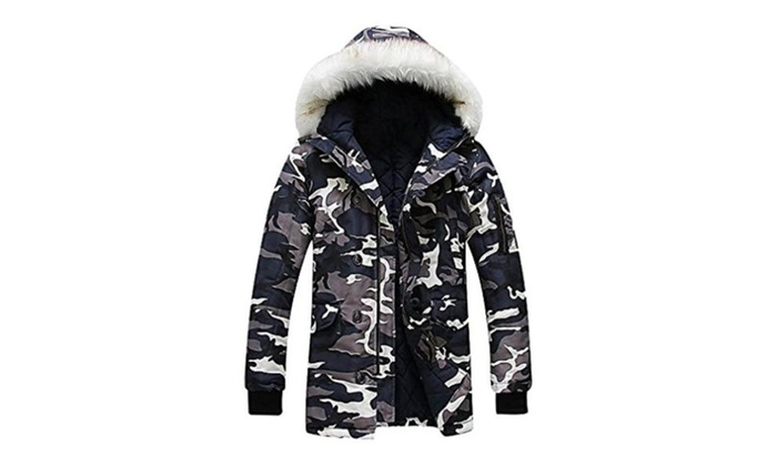 White camo jacket with fur