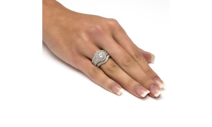 3 Piece 2 73 Tcw Round Cz Bridal Ring Set Groupon