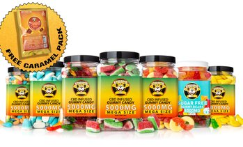 Mega Size CBD Infused Gummy Jars w/ Free 200mg Caramel Pack (2000MG - 5000MG)