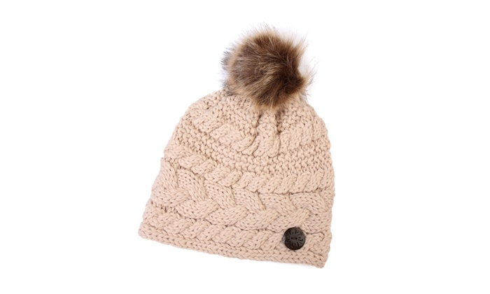 Button Knitted Pom Beanie