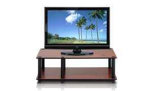 Furinno 11174DC(BK)/BK Just No Tools Mid TV Stand, Dark Cherry w/Black Tube