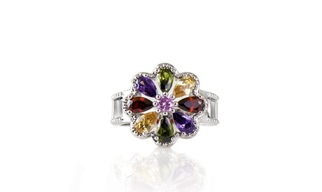 Multi Color Pear Cut Crystal Floral Halo Ring Made With Crystals From Swarovski