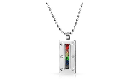 Bling Jewelry Gay Pride Multi Color CZ Dog Tag Pendant Bead Chain 20in 37d0d05d-19bf-4fe4-b691-25e237a27d74