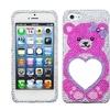Insten Pink Bear Heart Mirror Premium Diamante Case for iPhone 5 / 5s