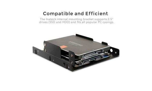 """Dual 2.5/"""" SSD Mounting Bracket 3.5/"""" Internal Drive Bay Desktop PC Case w// Cables"""