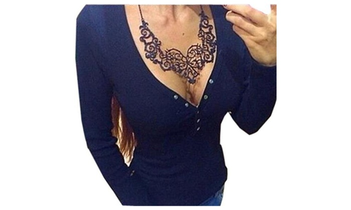 Women's Solid Color Long Sleeve V-neck Blouse T-Shirt Tops