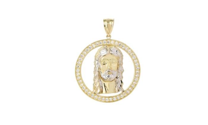 Big jesus piece cz 10k yellow gold pendant groupon big jesus piece cz 10k yellow gold pendant mozeypictures Images