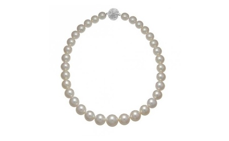 Bling Jewelry Graduated 10 to 14mm Pearl Necklace Rhodium Plated 79249a26-ae8f-4ed5-92eb-4ed401b1c6fd