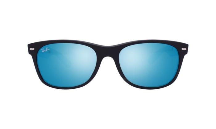 f40049fe16 Ray Ban Wayfarer RB2132 622 17 55 Matte Black   Blue Flash Mirror ...