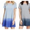 Women's Tunic Swing T-Shirt Dress Short Sleeve Tie Dye Ombre Dress