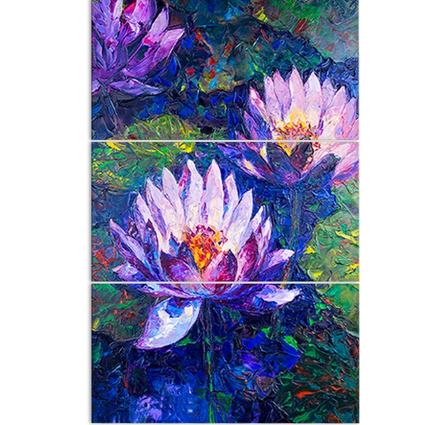 Blue Lotus Oil Painting Floral Metal Wall Art Groupon
