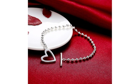 Sterling Silver Multi Beads Heart Toggle Clasp Bracelet ffdef3fb-2394-4f95-b386-6473a989417c