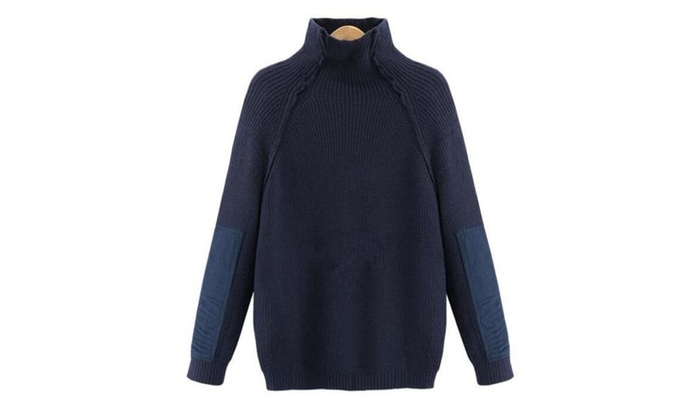 Women's Casual Solid Pullovers Sweater – Blue / One Size