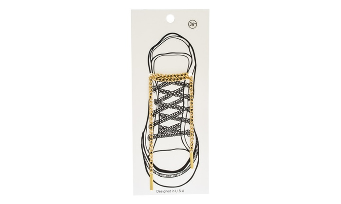 Goldtone Cuban Link Shoe Lace Chain Set