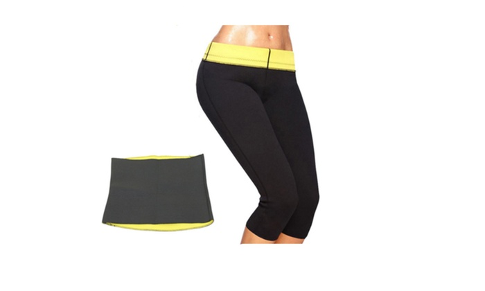 Unisex Neoprene Thermosweat Abs Workout Waist Trimmer and Capri Pants