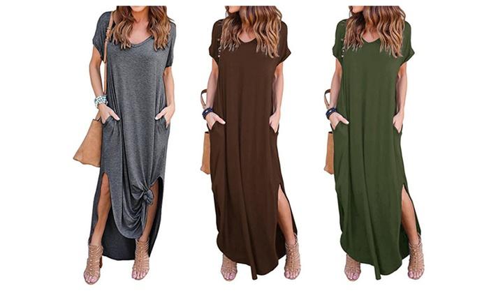 726a5df341fe Women's Casual Loose Pocket Long Dress Short Sleeve Split Maxi Dresses