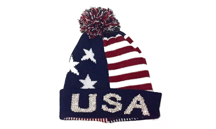 Bling USA Patriotic Stars & Stripes Thick Knit Pom Beanie Ski Hat