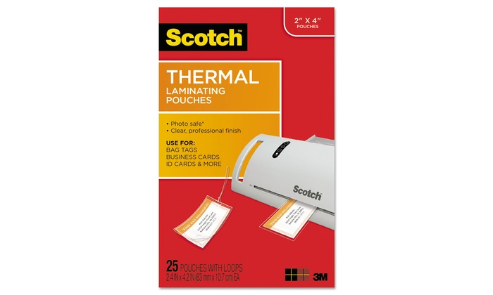 Commercial Tape Luggage Tag Size Thermal Laminating Pouches, 5 mil