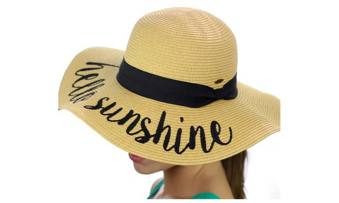C.C Women's Crushable Beach Embroidered Quote Floppy Brim Sun Hat