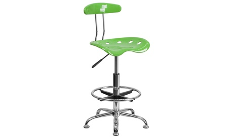 Vibrant Chrome Drafting Stool with Tractor Seat 8dd68d9a-5761-4df6-971b-be35c2f65457