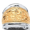 14k Gold-Plated Silver Two-Tone Cigar Band Ring