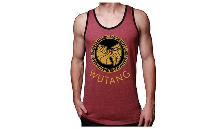 Mens Soft Jersey Red Wu Tang Stamp Tank Top