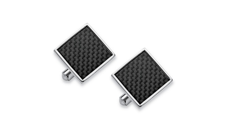 Men's Inlaid Carbon Fiber Square Cufflinks in Stainless Steel f59f1764-594c-4be1-bbef-7cc72850d0ee
