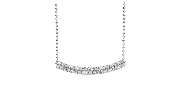 OSP: Rhodium Plated Curved Two Row Crystal Bar Necklace