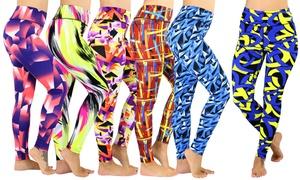 (3 Pack) Women's Vivacious Unique Print Banded Waist Yoga Pants
