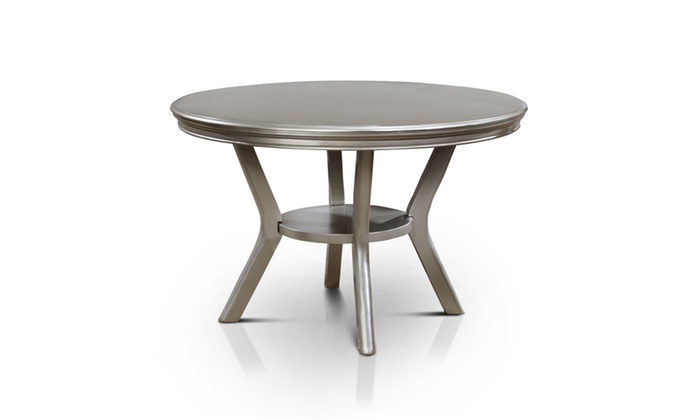 Navarre Contemporary Round Dining Table, Champagne