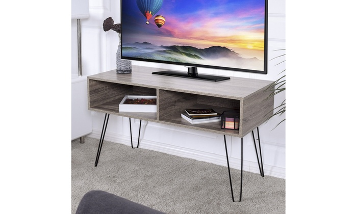 Tv Stand Wood Media Console Entertainment With Metal Hairpin Legs