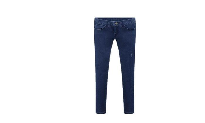Women's Skinny Solid European Style Jeans