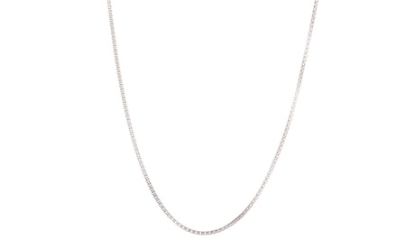 18K White Gold Sterling Silver Double Cable Chain Necklace 1bc299bf-e565-45b9-ac6a-73b9e9faefb0