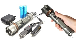 2000 Lumen Waterproof LED Flashlight & FREE Chargers & 18650 Batteries