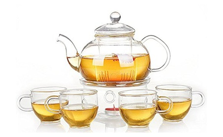 Teaset Glass Filtering Tea Maker Teapot with a Warmer and Cups 8596655d-fc69-4c43-a63b-a77d45d0be93