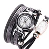 PU Leather Crystal Design Bracelet Quartz Women Watch