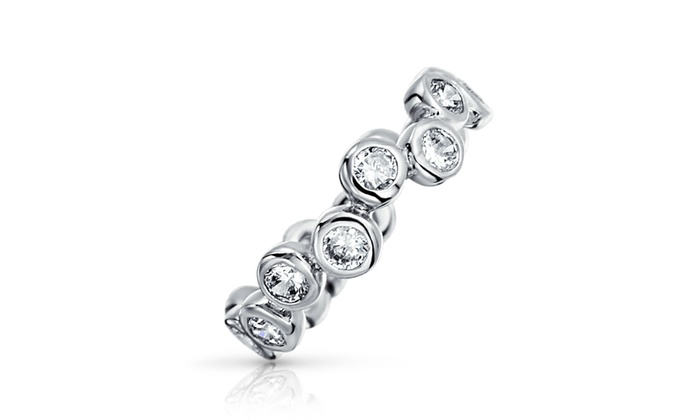 3f4312774 Up To 56% Off on CZ Bubble Band Sterling Silve... | Groupon Goods
