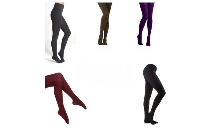 Ladies Fleece Lined Ribbed Footed Tights